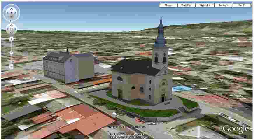 Ukázka Google Earth mapy s 3D vizualizací budov