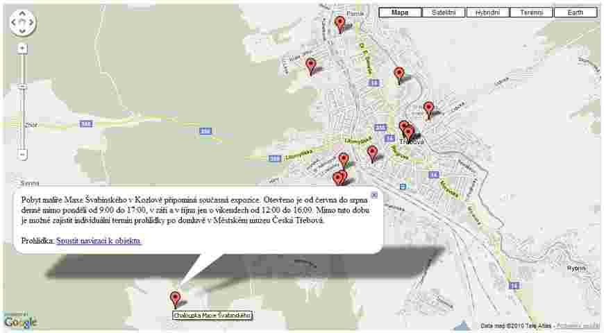 Ukázka Google mapy Česká Třebová s označením turistických míst