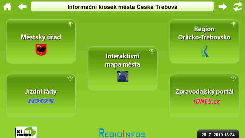 Ukázka vstupní obrazovky aplikace Ki-Wi Kiosk